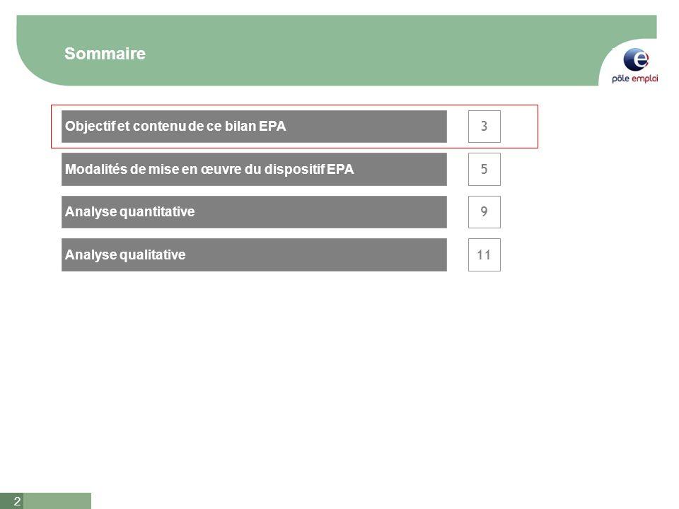 2 Sommaire 3 5 Analyse qualitative Analyse quantitative Objectif et contenu de ce bilan EPA Modalités de mise en œuvre du dispositif EPA 9 11