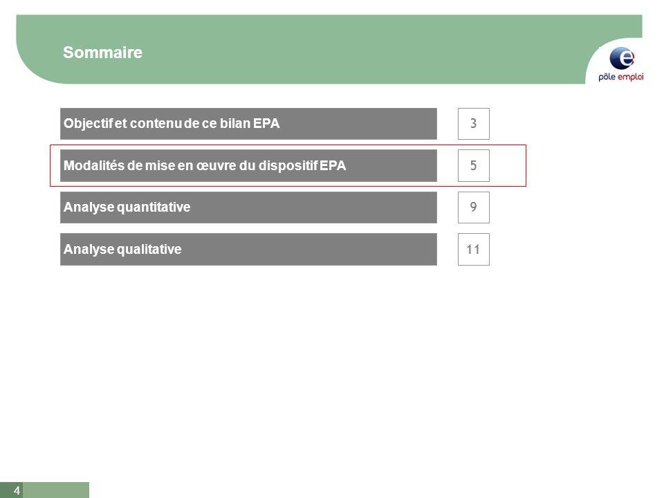 4 Sommaire 3 5 Analyse qualitative Analyse quantitative Objectif et contenu de ce bilan EPA Modalités de mise en œuvre du dispositif EPA 9 11