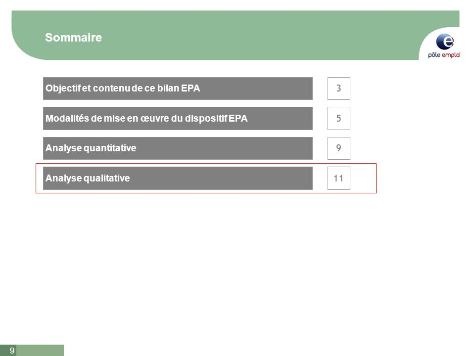 9 Sommaire 3 5 Analyse qualitative Analyse quantitative Objectif et contenu de ce bilan EPA Modalités de mise en œuvre du dispositif EPA 9 11