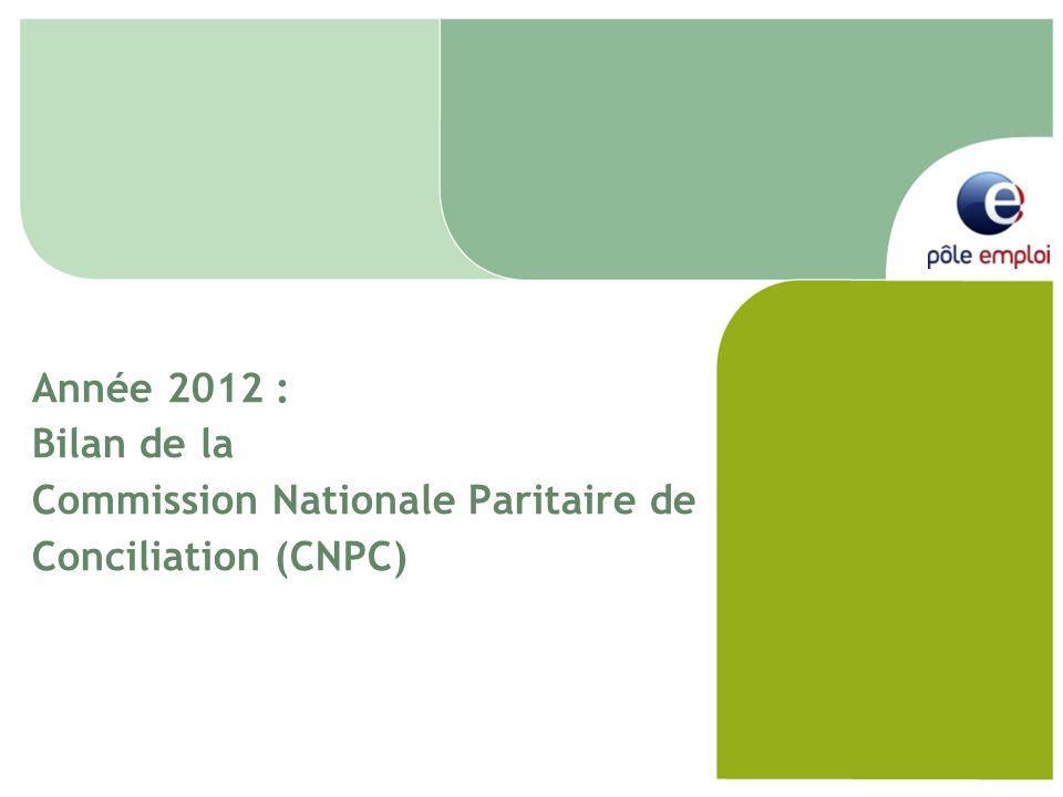 Année 2012 : Bilan de la Commission Nationale Paritaire de Conciliation (CNPC)