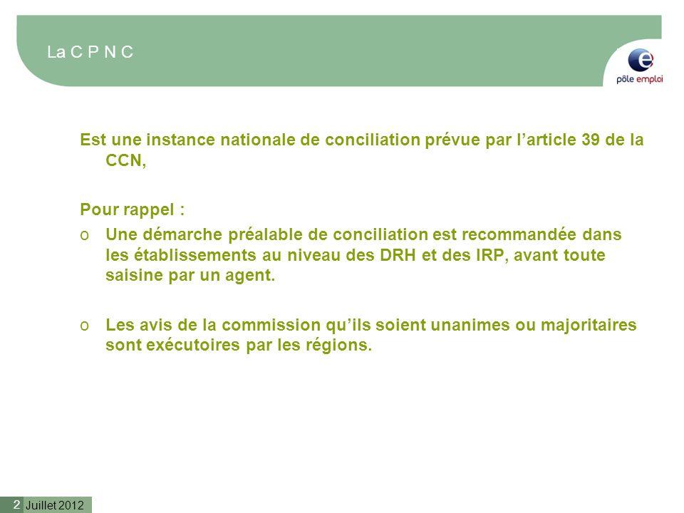 Juillet 2012 2 La C P N C Est une instance nationale de conciliation prévue par larticle 39 de la CCN, Pour rappel : oUne démarche préalable de concil