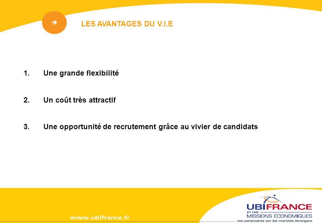 1.Une grande flexibilité 2.Un coût très attractif 3.Une opportunité de recrutement grâce au vivier de candidats LES AVANTAGES DU V.I.E