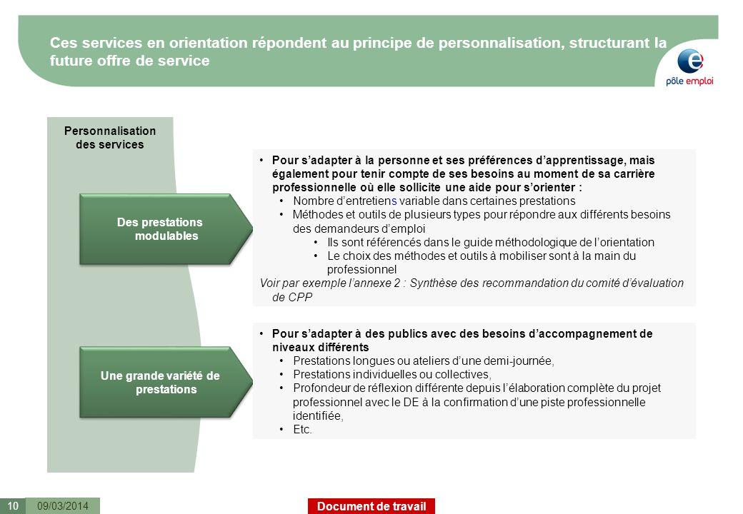 Document de travail Personnalisation des services Ces services en orientation répondent au principe de personnalisation, structurant la future offre d