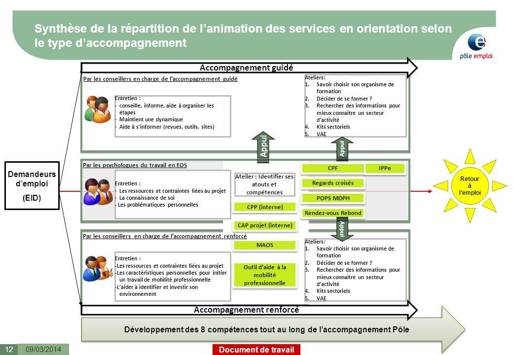 Document de travail Synthèse de la répartition de lanimation des services en orientation selon le type daccompagnement 09/03/201412 Par les conseiller