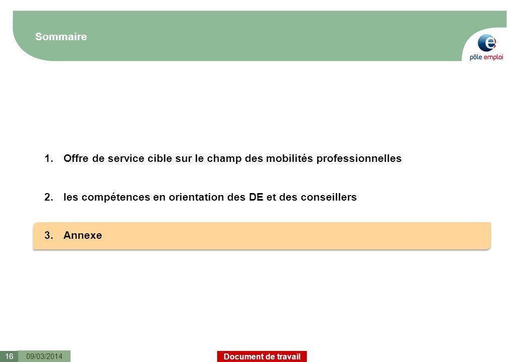 Document de travail Sommaire 09/03/201416 1.Offre de service cible sur le champ des mobilités professionnelles 2.les compétences en orientation des DE