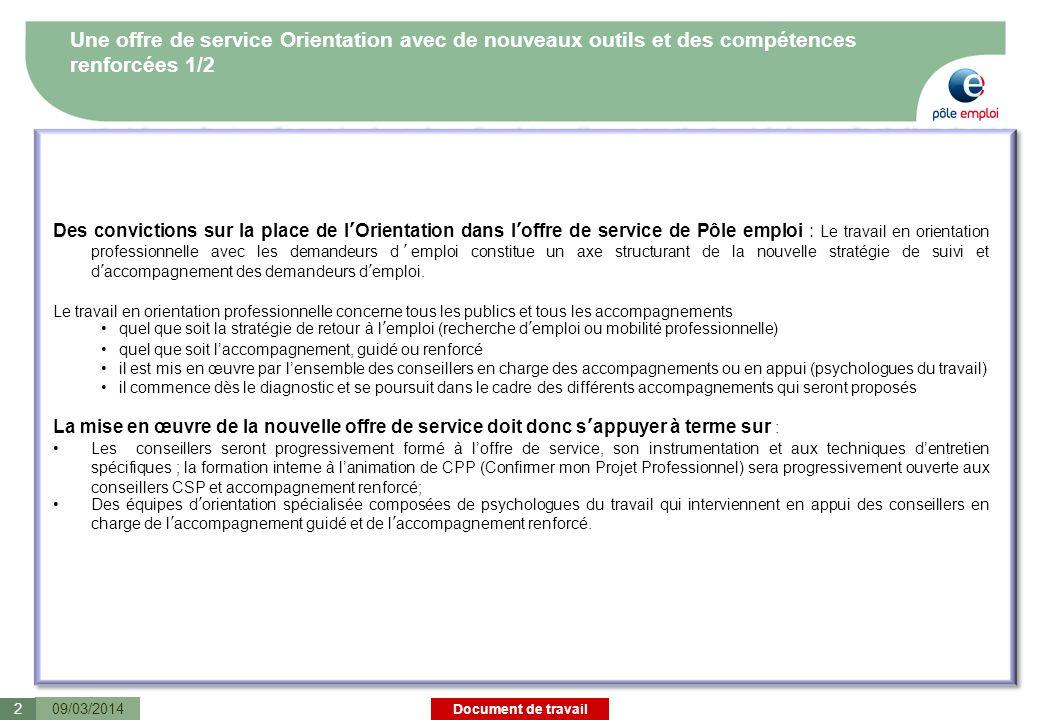 Document de travail Une offre de service Orientation avec de nouveaux outils et des compétences renforcées 1/2 09/03/20142 Des convictions sur la plac