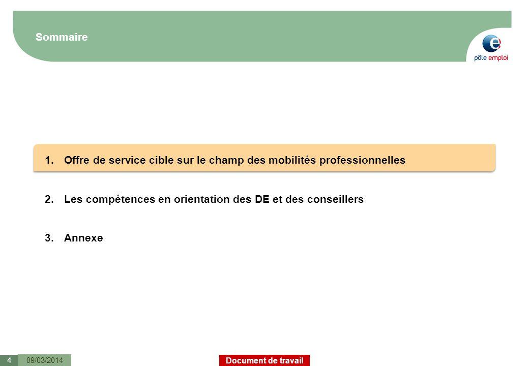 Document de travail Sommaire 09/03/20144 1.Offre de service cible sur le champ des mobilités professionnelles 2.Les compétences en orientation des DE