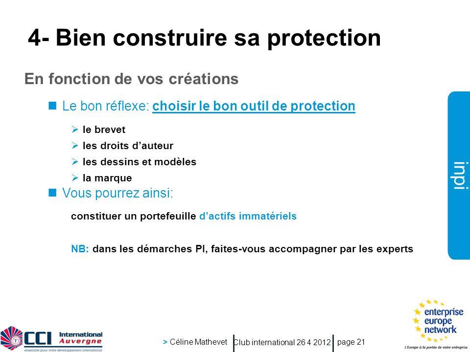 inpi Club international 26 4 2012 > Céline Mathevet page 21 4- Bien construire sa protection En fonction de vos créations Le bon réflexe: choisir le b