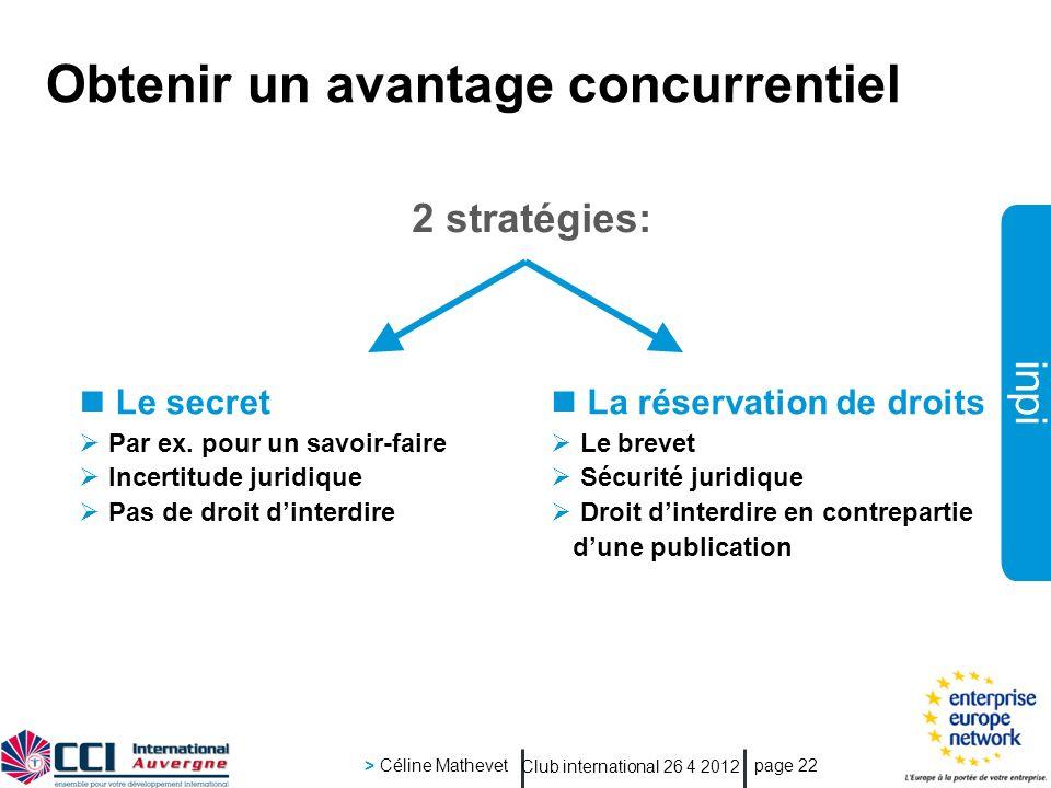 inpi Club international 26 4 2012 > Céline Mathevet page 22 Obtenir un avantage concurrentiel 2 stratégies: La réservation de droits Le brevet Sécurit