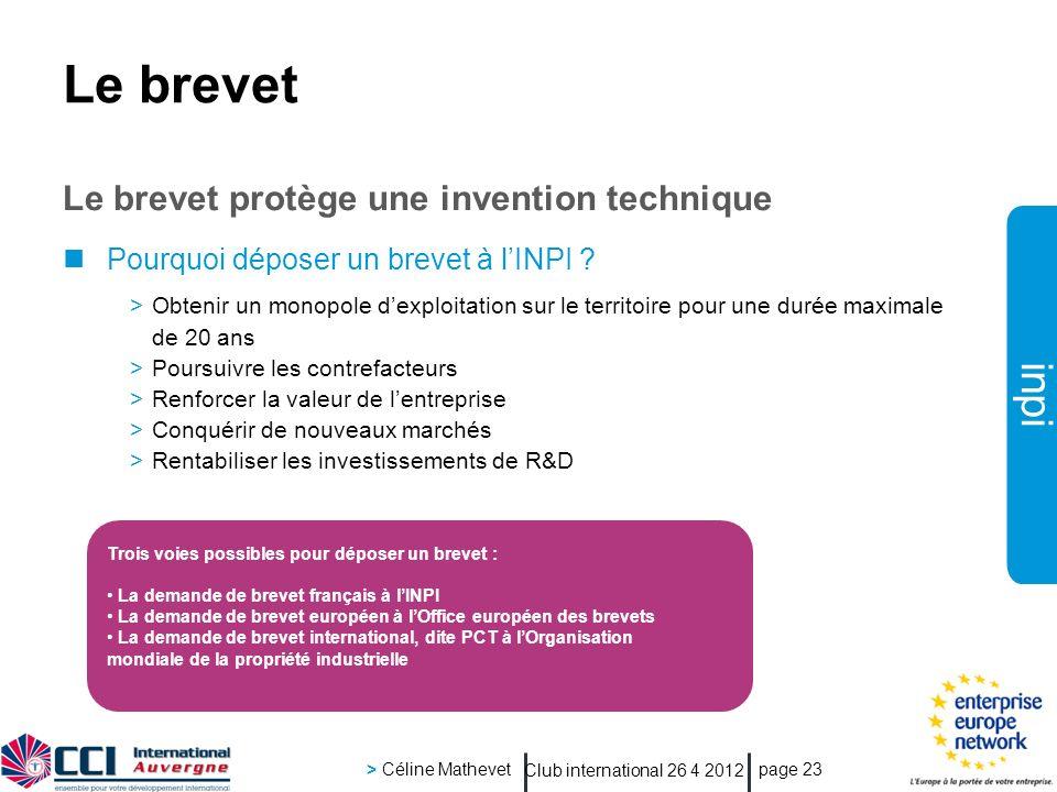 inpi Club international 26 4 2012 > Céline Mathevet page 23 Le brevet Le brevet protège une invention technique Pourquoi déposer un brevet à lINPI ? >
