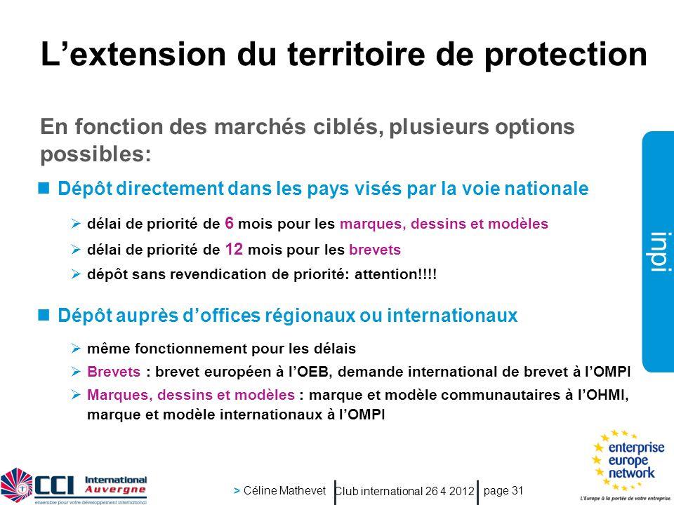 inpi Club international 26 4 2012 > Céline Mathevet page 31 Lextension du territoire de protection En fonction des marchés ciblés, plusieurs options p