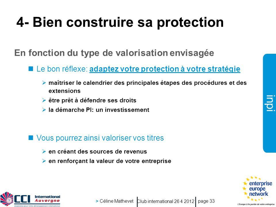 inpi Club international 26 4 2012 > Céline Mathevet page 33 4- Bien construire sa protection En fonction du type de valorisation envisagée Le bon réfl