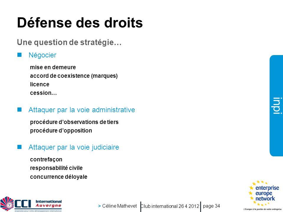 inpi Club international 26 4 2012 > Céline Mathevet page 34 Défense des droits Une question de stratégie… Négocier mise en demeure accord de coexisten