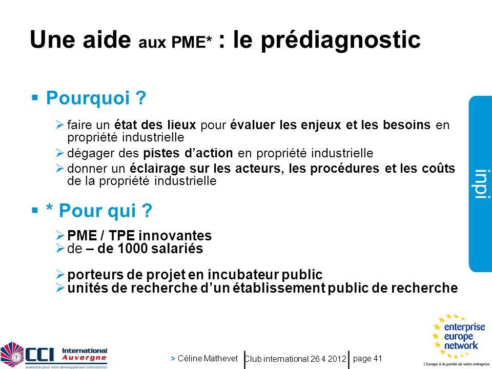 inpi Club international 26 4 2012 > Céline Mathevet page 41 Pourquoi .