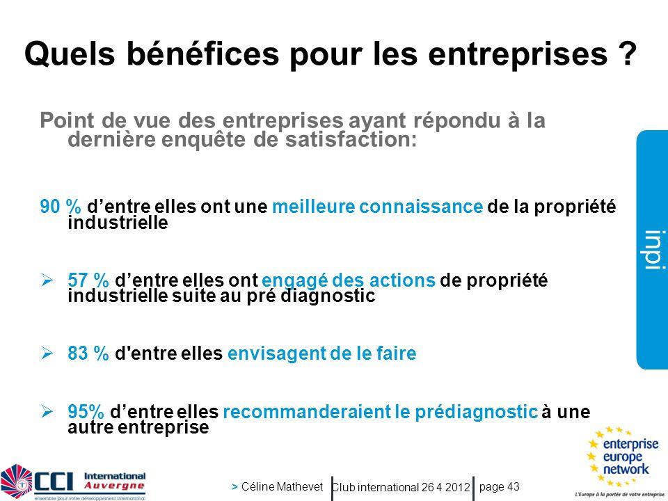 inpi Club international 26 4 2012 > Céline Mathevet page 43 Quels bénéfices pour les entreprises ? Point de vue des entreprises ayant répondu à la der