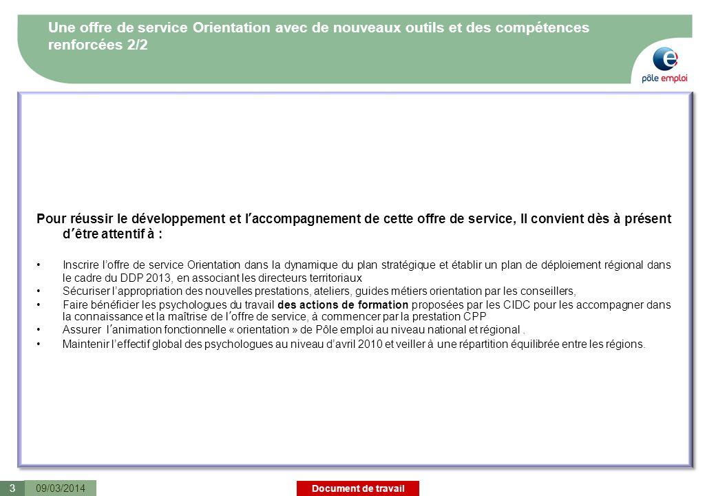 Document de travail Sommaire 09/03/20144 1.Offre de service cible sur le champ des mobilités professionnelles 2.Linstrumentation au service de lorientation professionnelle 3.Les compétences en orientation des DE et des conseillers 4.Annexe
