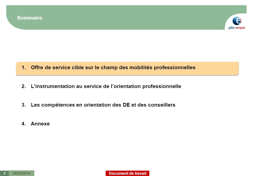 Document de travail Sommaire 09/03/20144 1.Offre de service cible sur le champ des mobilités professionnelles 2.Linstrumentation au service de lorient