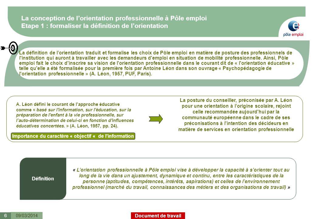 Document de travail La conception de lorientation professionnelle à Pôle emploi Etape 1 : formaliser la définition de lorientation La définition de lo