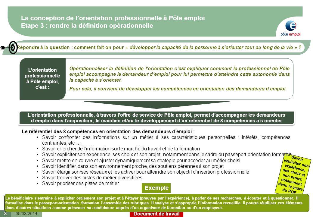 Document de travail Les prochaines étapes Sur Février/mars : Phase dappropriation par les managers (DR, DT, DSO, DAPE et ELD) à partir dun kit composé de: –Principales orientations pour laccompagnement et le déploiement de loffre de services Orientation –Synthèse des contenus des prestations Chaque région élabore son plan de déploiement, suite à consultation de leur IRP, pour mise en œuvre de loffre de services Orientation A partir de juin : Déploiement de loffre de services Orientation en animation interne 1909/03/2014
