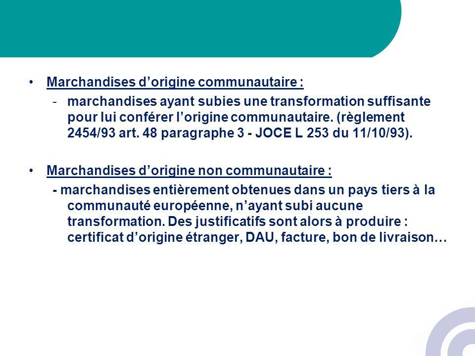 Marchandises dorigine communautaire : -marchandises ayant subies une transformation suffisante pour lui conférer lorigine communautaire. (règlement 24