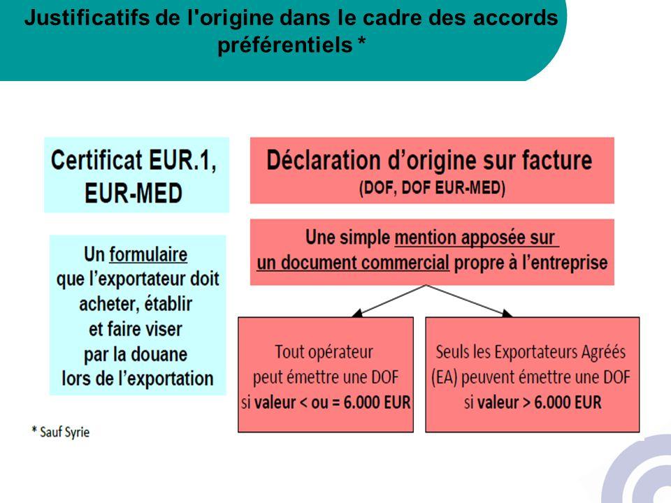Justificatifs de l'origine dans le cadre des accords préférentiels *