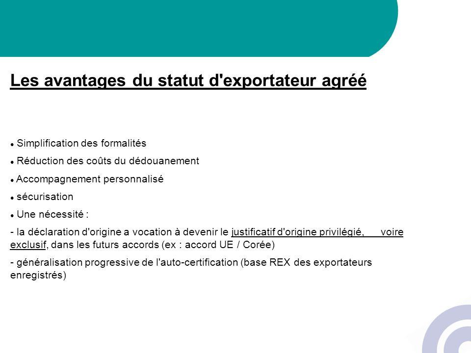 Les avantages du statut d'exportateur agréé Simplification des formalités Réduction des coûts du dédouanement Accompagnement personnalisé sécurisation