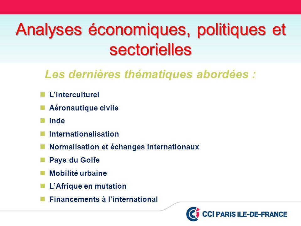 Les dernières thématiques abordées : Linterculturel Aéronautique civile Inde Internationalisation Normalisation et échanges internationaux Pays du Gol