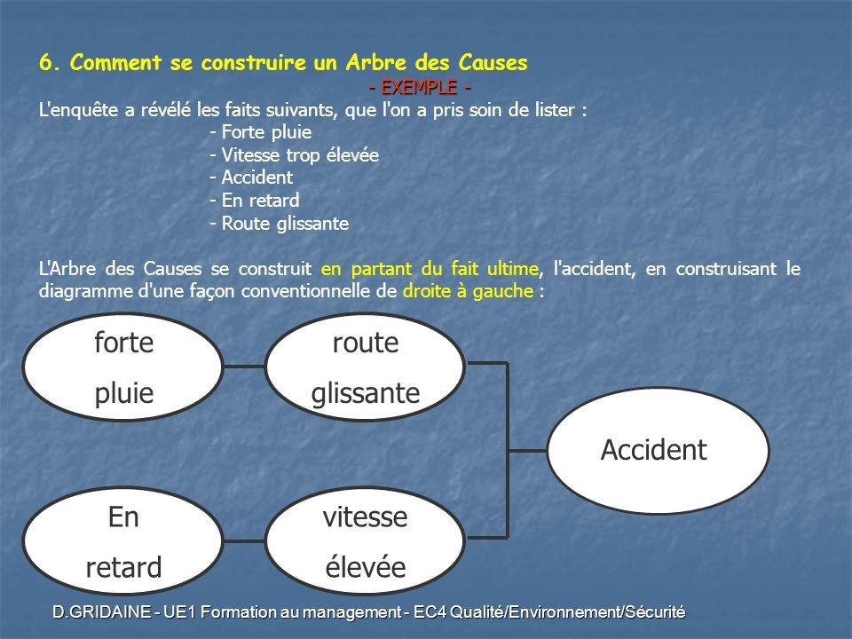 D.GRIDAINE - UE1 Formation au management - EC4 Qualité/Environnement/Sécurité 6. Comment se construire un Arbre des Causes - EXEMPLE - L'enquête a rév