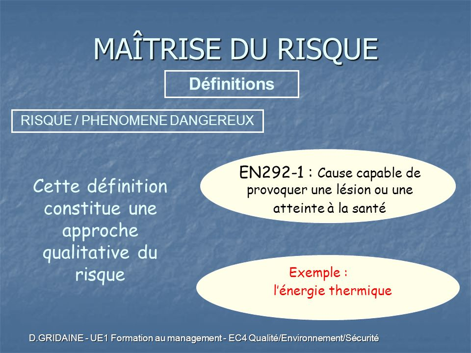 D.GRIDAINE - UE1 Formation au management - EC4 Qualité/Environnement/Sécurité EN292-1 : Cause capable de provoquer une lésion ou une atteinte à la san