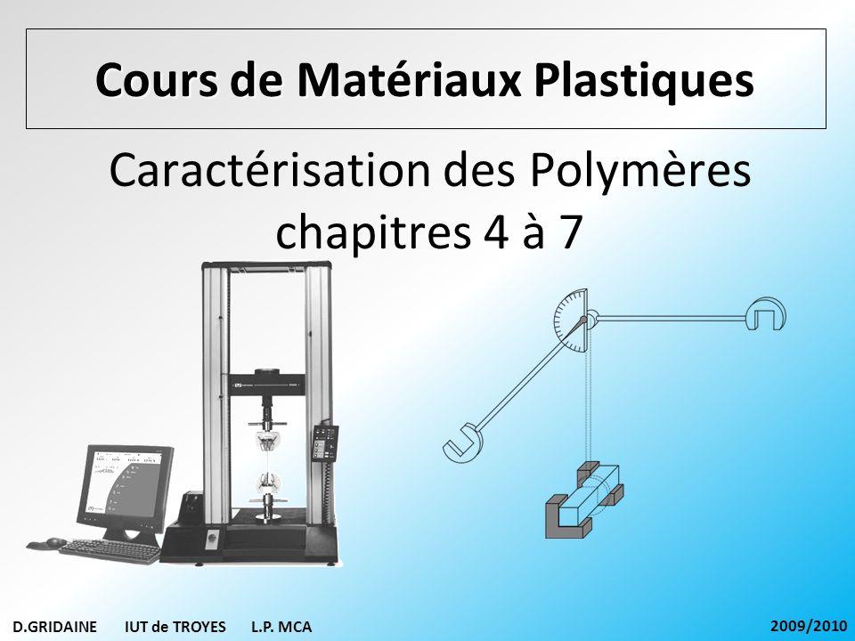 D.GRIDAINE IUT de TROYES L.P. MCA 2009/2010 Caractérisation des Polymères chapitres 4 à 7 Cours de Matériaux Plastiques