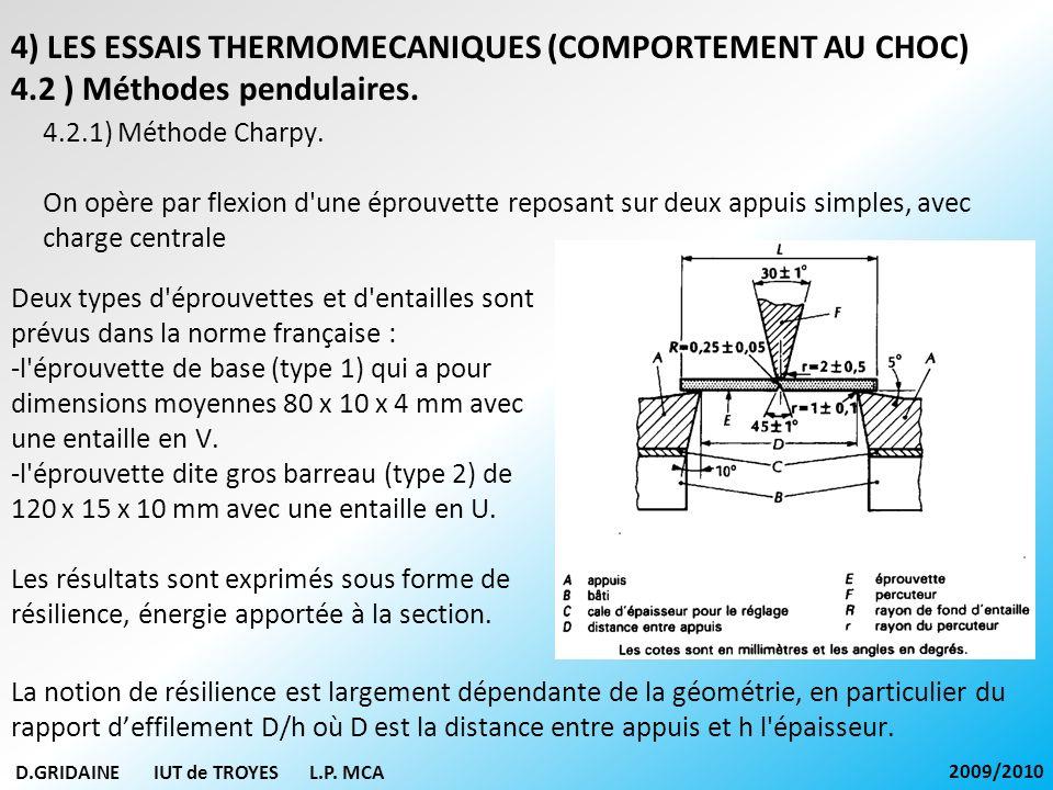 D.GRIDAINE IUT de TROYES L.P. MCA 2009/2010 4.2.1) Méthode Charpy. On opère par flexion d'une éprouvette reposant sur deux appuis simples, avec charge