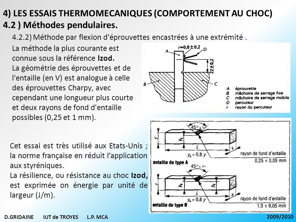 D.GRIDAINE IUT de TROYES L.P. MCA 2009/2010 4.2.2) Méthode par flexion d'éprouvettes encastrées à une extrémité. 4) LES ESSAIS THERMOMECANIQUES (COMPO