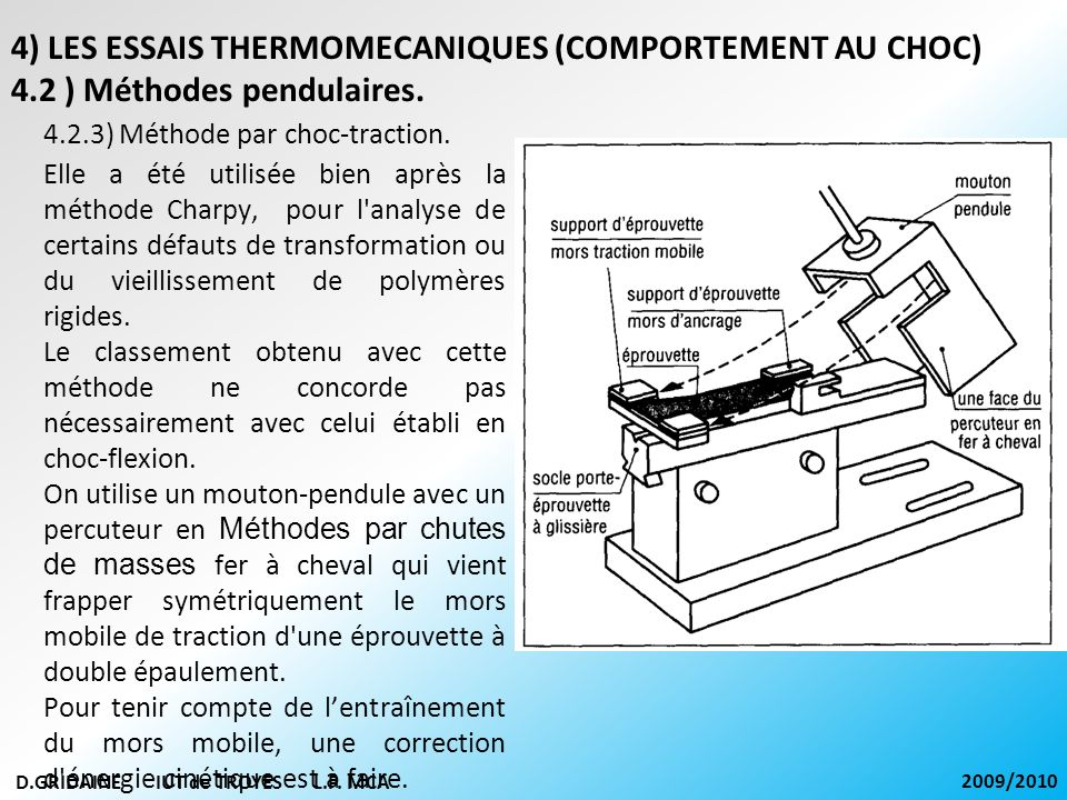 D.GRIDAINE IUT de TROYES L.P. MCA 2009/2010 4.2.3) Méthode par choc-traction. 4) LES ESSAIS THERMOMECANIQUES (COMPORTEMENT AU CHOC) 4.2 ) Méthodes pen