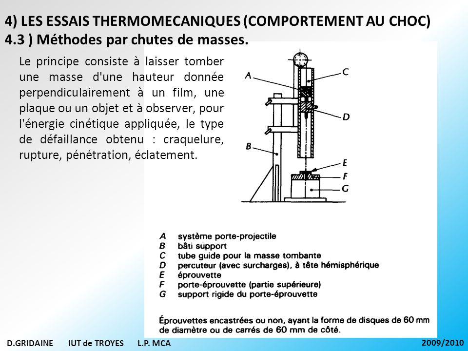 D.GRIDAINE IUT de TROYES L.P. MCA 2009/2010 4) LES ESSAIS THERMOMECANIQUES (COMPORTEMENT AU CHOC) 4.3 ) Méthodes par chutes de masses. Le principe con