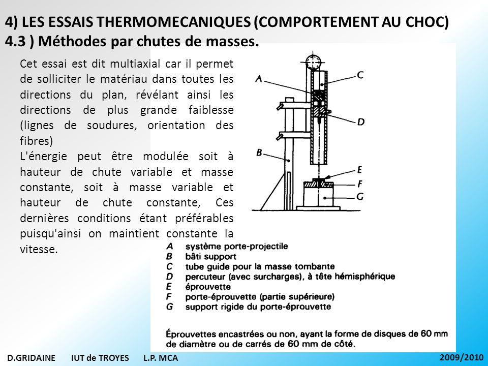 D.GRIDAINE IUT de TROYES L.P. MCA 2009/2010 4) LES ESSAIS THERMOMECANIQUES (COMPORTEMENT AU CHOC) 4.3 ) Méthodes par chutes de masses. Cet essai est d