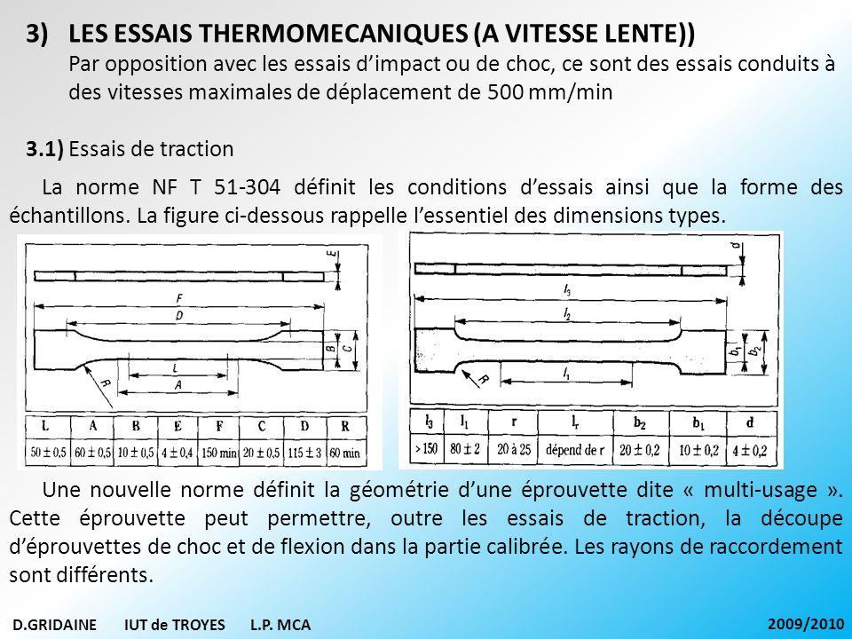 D.GRIDAINE IUT de TROYES L.P. MCA 2009/2010 3)LES ESSAIS THERMOMECANIQUES (A VITESSE LENTE)) Par opposition avec les essais dimpact ou de choc, ce son