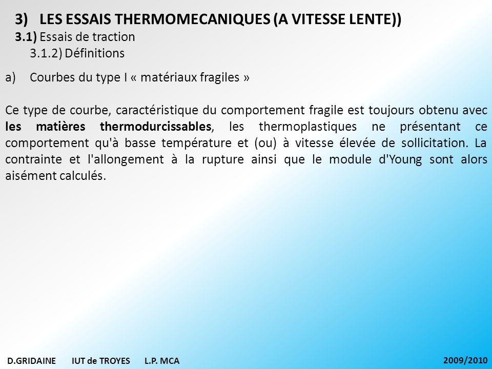 D.GRIDAINE IUT de TROYES L.P. MCA 2009/2010 3)LES ESSAIS THERMOMECANIQUES (A VITESSE LENTE)) 3.1) Essais de traction 3.1.2) Définitions a)Courbes du t