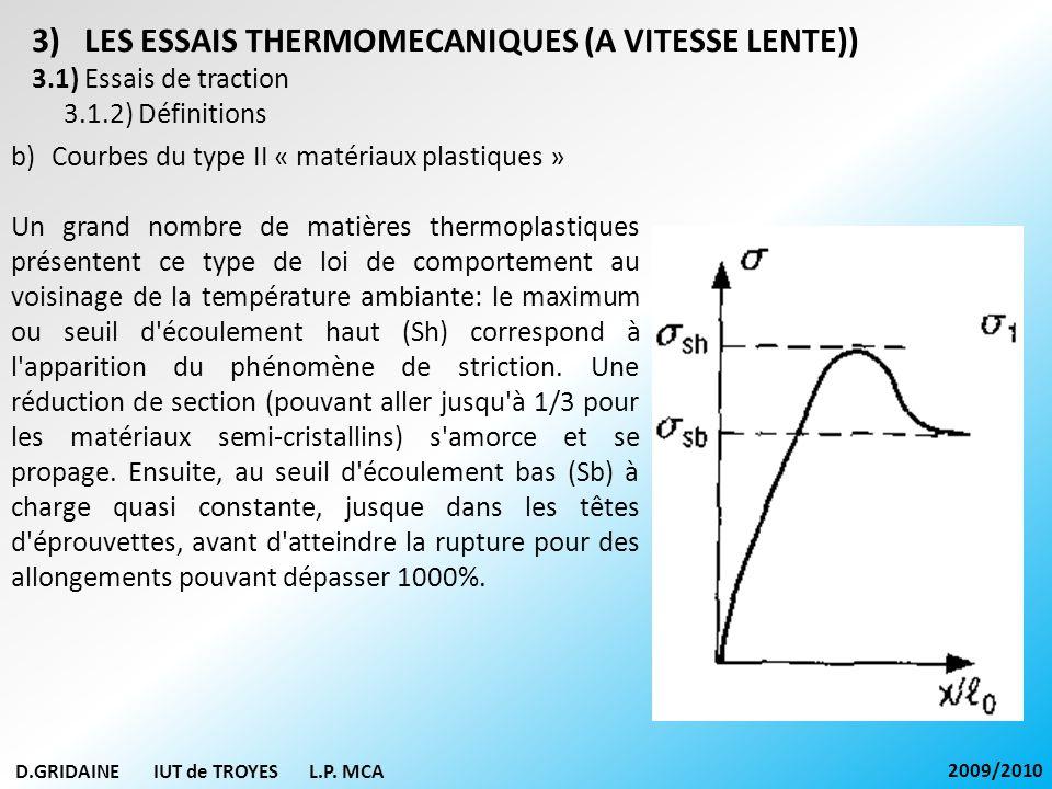 D.GRIDAINE IUT de TROYES L.P. MCA 2009/2010 3)LES ESSAIS THERMOMECANIQUES (A VITESSE LENTE)) 3.1) Essais de traction 3.1.2) Définitions b)Courbes du t