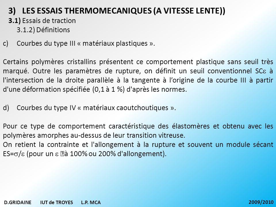 D.GRIDAINE IUT de TROYES L.P. MCA 2009/2010 3)LES ESSAIS THERMOMECANIQUES (A VITESSE LENTE)) 3.1) Essais de traction 3.1.2) Définitions c)Courbes du t