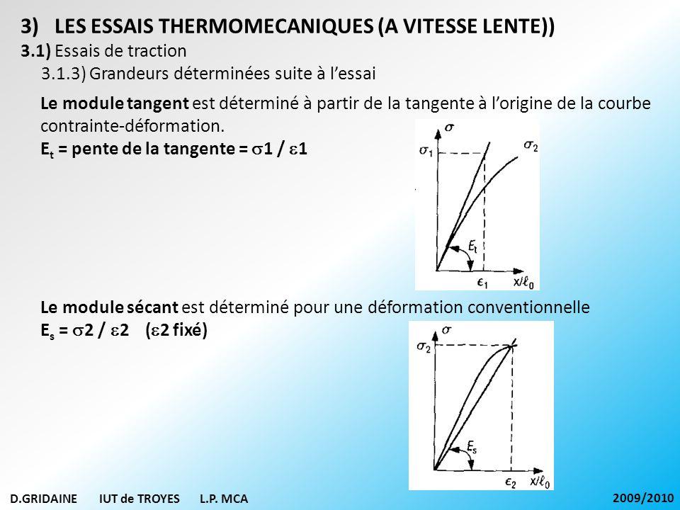 D.GRIDAINE IUT de TROYES L.P. MCA 2009/2010 3)LES ESSAIS THERMOMECANIQUES (A VITESSE LENTE)) 3.1) Essais de traction 3.1.3) Grandeurs déterminées suit