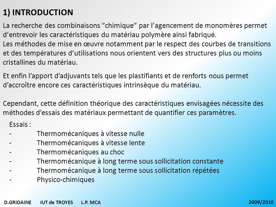 D.GRIDAINE IUT de TROYES L.P. MCA 2009/2010 La recherche des combinaisons chimique par lagencement de monomères permet dentrevoir les caractéristiques