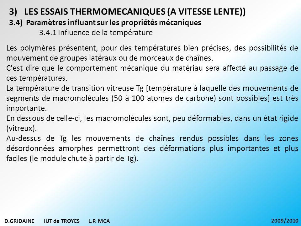 D.GRIDAINE IUT de TROYES L.P. MCA 2009/2010 3)LES ESSAIS THERMOMECANIQUES (A VITESSE LENTE)) 3.4) Paramètres influant sur les propriétés mécaniques 3.