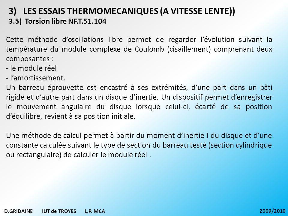 D.GRIDAINE IUT de TROYES L.P. MCA 2009/2010 3)LES ESSAIS THERMOMECANIQUES (A VITESSE LENTE)) 3.5) Torsion libre NF.T.51.104 Cette méthode doscillation