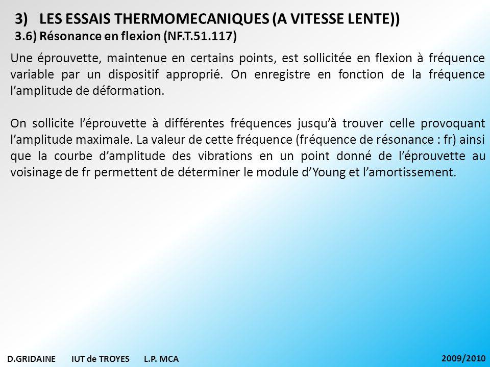 D.GRIDAINE IUT de TROYES L.P. MCA 2009/2010 3)LES ESSAIS THERMOMECANIQUES (A VITESSE LENTE)) 3.6) Résonance en flexion (NF.T.51.117) Une éprouvette, m