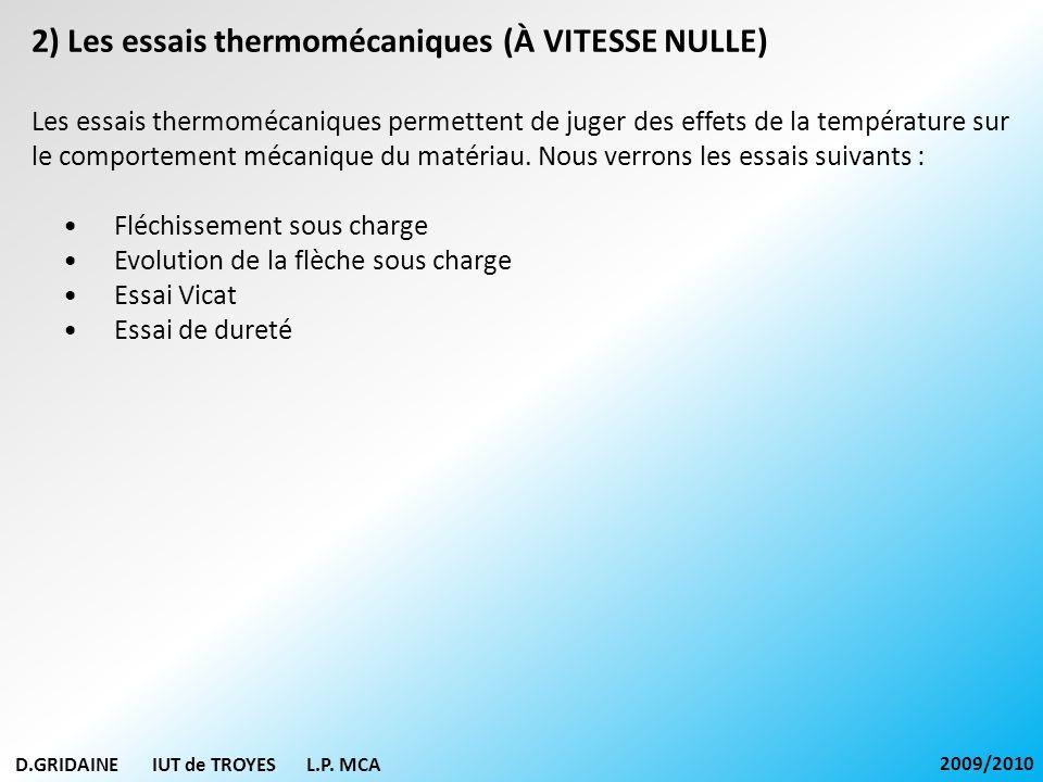 D.GRIDAINE IUT de TROYES L.P. MCA 2009/2010 2) Les essais thermomécaniques (À VITESSE NULLE) Les essais thermomécaniques permettent de juger des effet