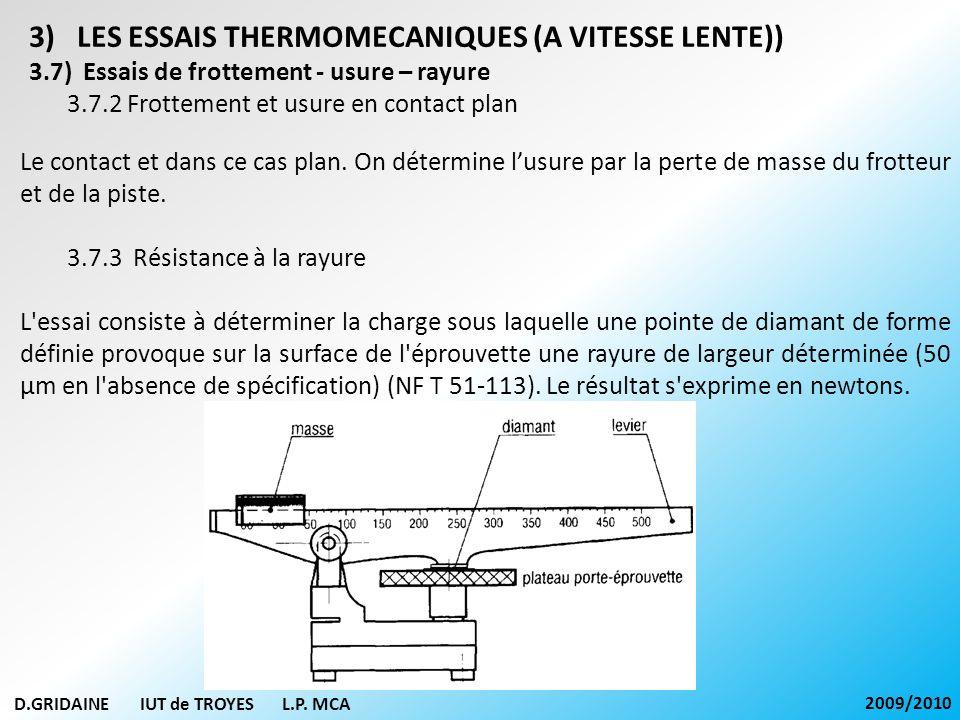 D.GRIDAINE IUT de TROYES L.P. MCA 2009/2010 3)LES ESSAIS THERMOMECANIQUES (A VITESSE LENTE)) 3.7) Essais de frottement - usure – rayure 3.7.2 Frotteme