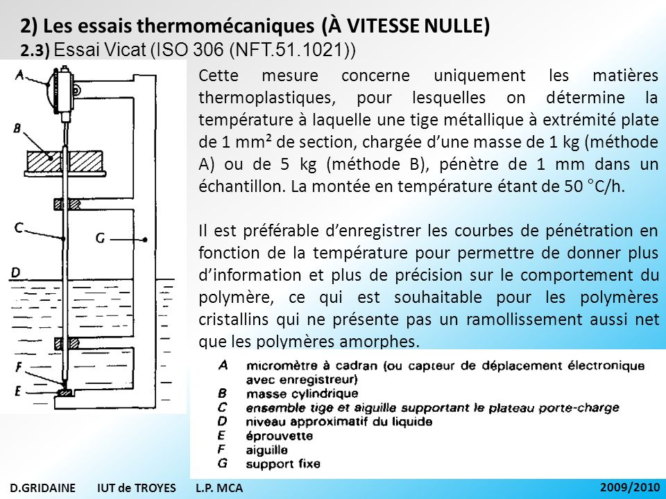 D.GRIDAINE IUT de TROYES L.P. MCA 2009/2010 2) Les essais thermomécaniques (À VITESSE NULLE) 2.3) Essai Vicat (ISO 306 (NFT.51.1021)) Cette mesure con