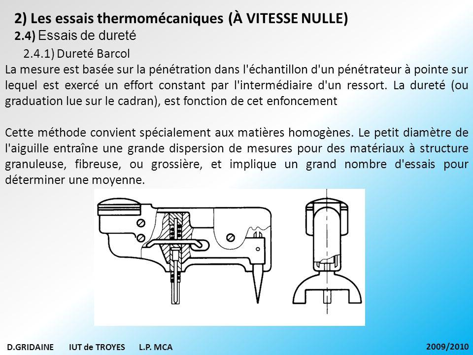 D.GRIDAINE IUT de TROYES L.P. MCA 2009/2010 2) Les essais thermomécaniques (À VITESSE NULLE) 2.4) Essais de dureté 2.4.1) Dureté Barcol La mesure est