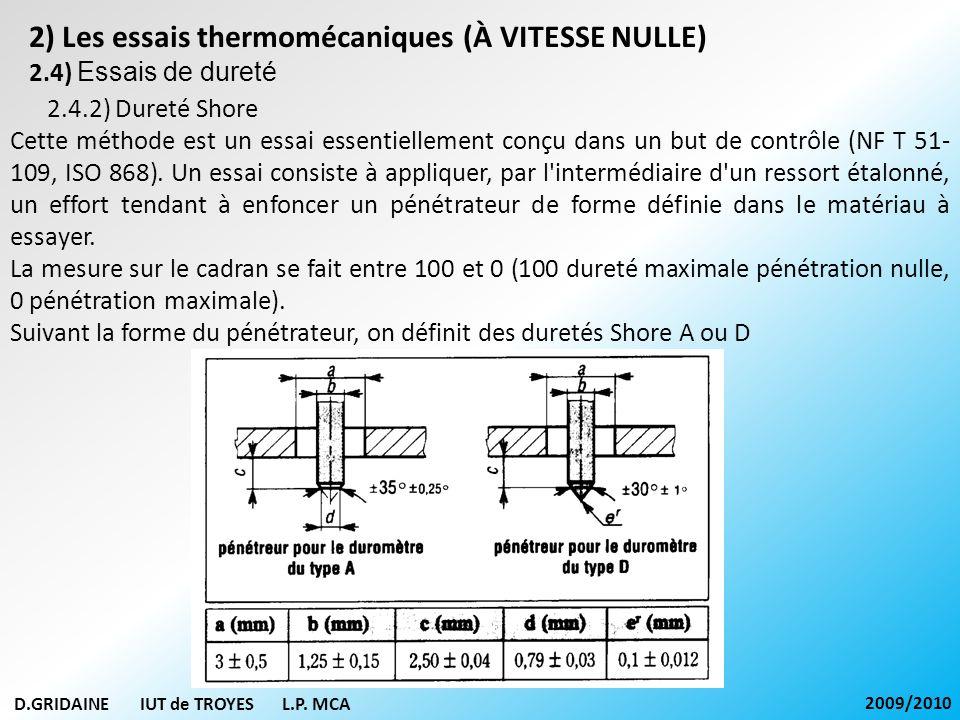 D.GRIDAINE IUT de TROYES L.P. MCA 2009/2010 2) Les essais thermomécaniques (À VITESSE NULLE) 2.4) Essais de dureté 2.4.2) Dureté Shore Cette méthode e