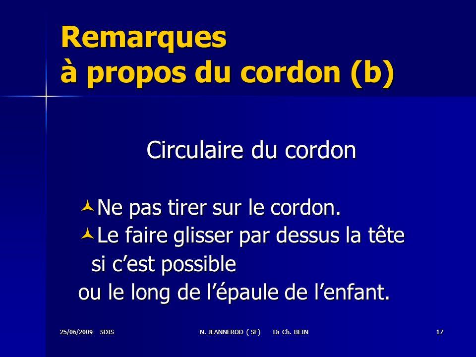25/06/2009 SDISN. JEANNEROD ( SF) Dr Ch. BEIN17 Remarques à propos du cordon (b) Circulaire du cordon Ne pas tirer sur le cordon. Ne pas tirer sur le